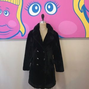 Russell Taylor Black Vintage Faux Fur Teddy Coat